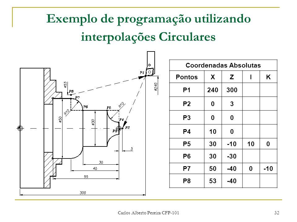 Carlos Alberto Pereira CFP-101 32 Exemplo de programação utilizando interpolações Circulares Coordenadas Absolutas PontosXZIK P1240300 P203 P300 P4100 P530-10100 P630-30 P750-400-10 P853-40