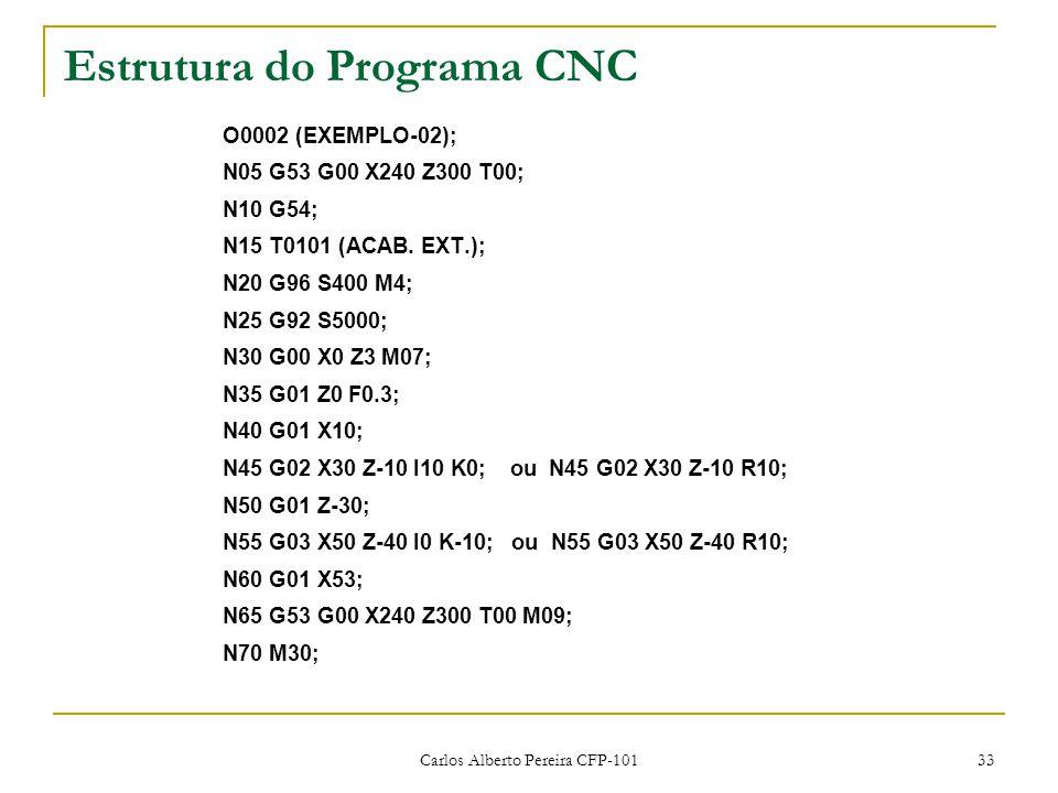 Carlos Alberto Pereira CFP-101 33 Estrutura do Programa CNC O0002 (EXEMPLO-02); N05 G53 G00 X240 Z300 T00; N10 G54; N15 T0101 (ACAB. EXT.); N20 G96 S4