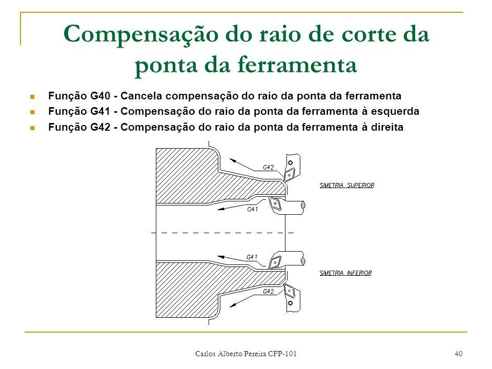 Carlos Alberto Pereira CFP-101 40 Compensação do raio de corte da ponta da ferramenta Função G40 - Cancela compensação do raio da ponta da ferramenta Função G41 - Compensação do raio da ponta da ferramenta à esquerda Função G42 - Compensação do raio da ponta da ferramenta à direita