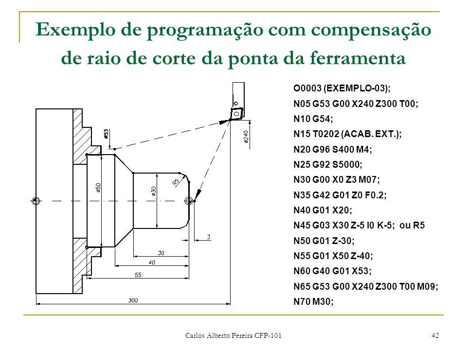 Carlos Alberto Pereira CFP-101 42 Exemplo de programação com compensação de raio de corte da ponta da ferramenta O0003 (EXEMPLO-03); N05 G53 G00 X240 Z300 T00; N10 G54; N15 T0202 (ACAB.