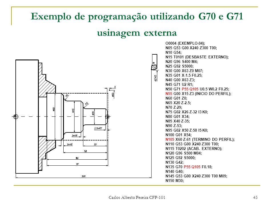 Carlos Alberto Pereira CFP-101 45 Exemplo de programação utilizando G70 e G71 usinagem externa O0004 (EXEMPLO-04); N05 G53 G00 X240 Z300 T00; N10 G54; N15 T0101 (DESBASTE EXTERNO); N20 G96 S400 M4; N25 G92 S5000; N30 G00 X63 Z0 M07; N35 G01 X-1.5 F0.25; N40 G00 X63 Z3; N45 G71 U2 R1; N50 G71 P55 Q105 U0.5 W0.2 F0.25; N55 G00 X15 Z3 (INICIO DO PERFIL); N60 G01 Z0; N65 X20 Z-2.5; N70 Z-29; N75 G02 X26 Z-32 I3 K0; N80 G01 X34; N85 X40 Z-35; N90 Z-53; N95 G02 X50 Z-58 I5 K0; N100 G01 X54; N105 X60 Z-61 (TERMINO DO PERFIL); N110 G53 G00 X240 Z300 T00; N115 T0202 (ACAB.