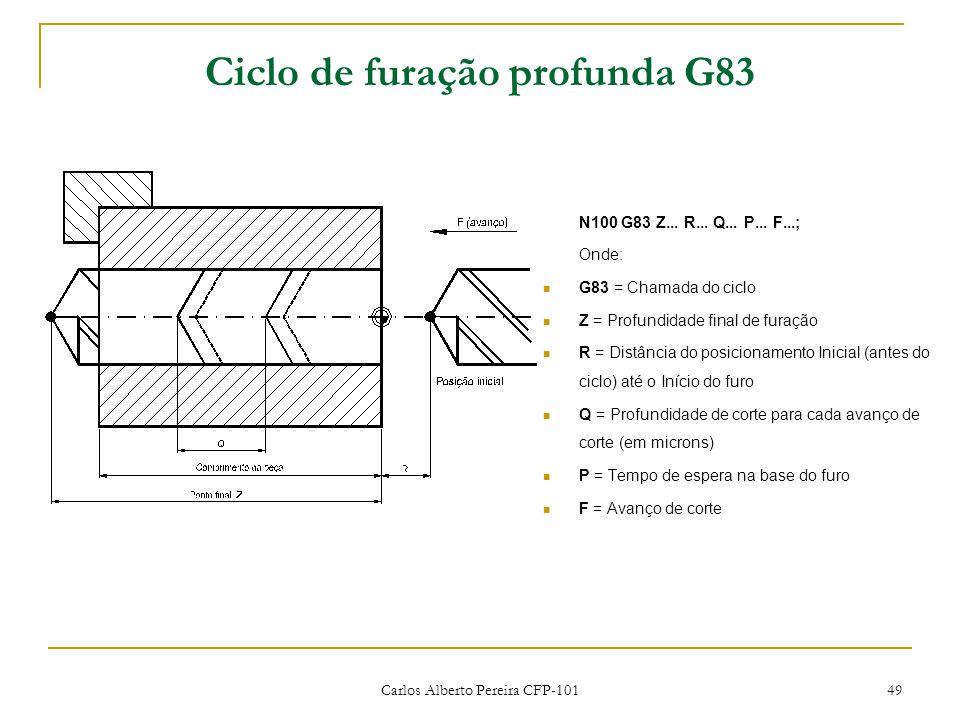 Carlos Alberto Pereira CFP-101 49 Ciclo de furação profunda G83 N100 G83 Z... R... Q... P... F...; Onde: G83 = Chamada do ciclo Z = Profundidade final
