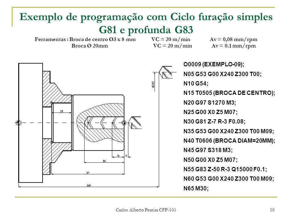 Carlos Alberto Pereira CFP-101 50 Exemplo de programação com Ciclo furação simples G81 e profunda G83 Ferramentas : Broca de centro Ø3 x 8 mmVC = 20 m/minAv = 0,08 mm/rpm Broca Ø 20mmVC = 20 m/minAv = 0.1 mm/rpm O0009 (EXEMPLO-09); N05 G53 G00 X240 Z300 T00; N10 G54; N15 T0505 (BROCA DE CENTRO); N20 G97 S1270 M3; N25 G00 X0 Z5 M07; N30 G81 Z-7 R-3 F0.08; N35 G53 G00 X240 Z300 T00 M09; N40 T0606 (BROCA DIAM=20MM); N45 G97 S318 M3; N50 G00 X0 Z5 M07; N55 G83 Z-50 R-3 Q15000 F0.1; N60 G53 G00 X240 Z300 T00 M09; N65 M30;