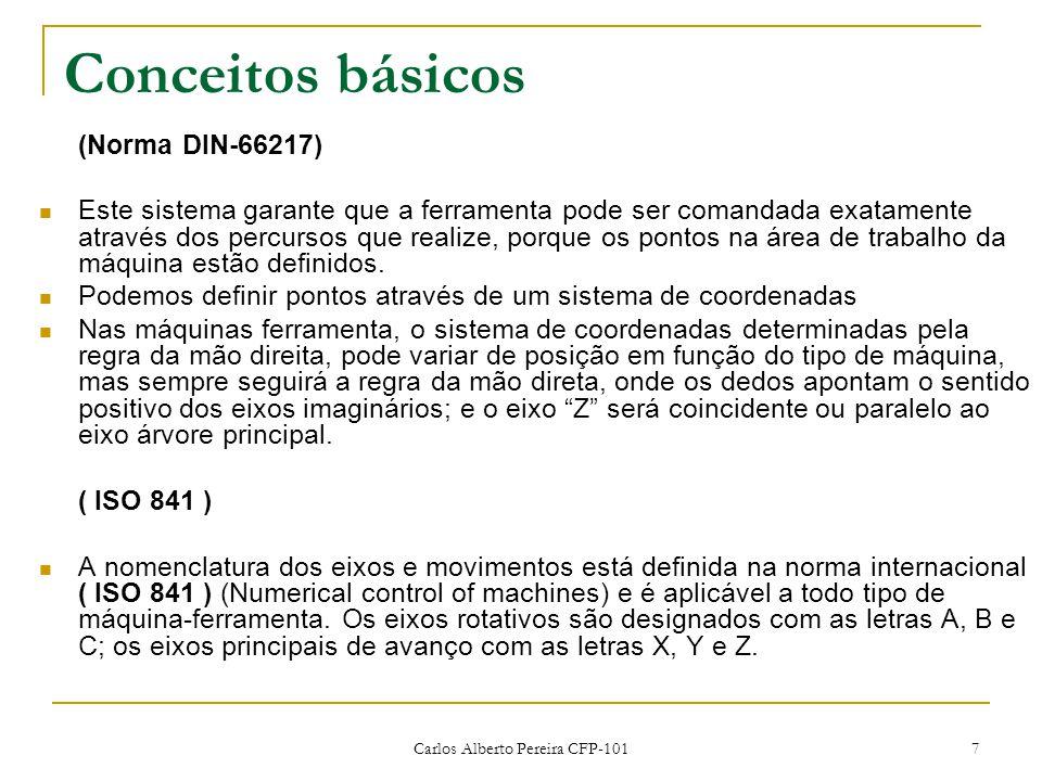 Carlos Alberto Pereira CFP-101 7 Conceitos básicos (Norma DIN-66217) Este sistema garante que a ferramenta pode ser comandada exatamente através dos percursos que realize, porque os pontos na área de trabalho da máquina estão definidos.