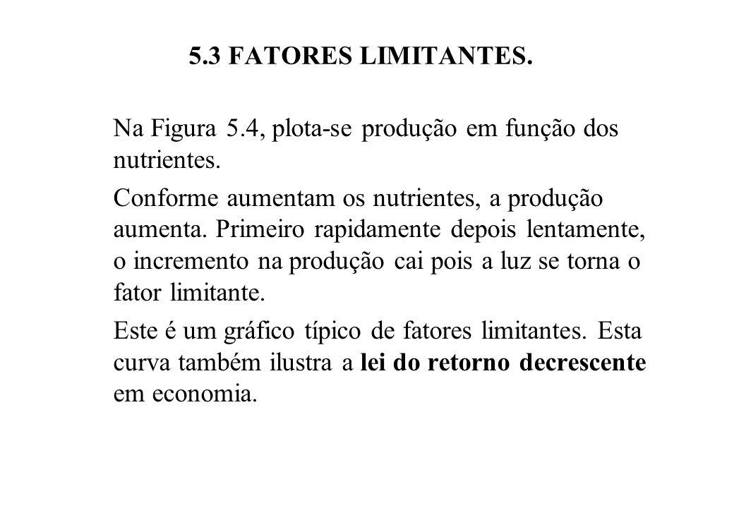 5.3 FATORES LIMITANTES.Na Figura 5.4, plota-se produção em função dos nutrientes.