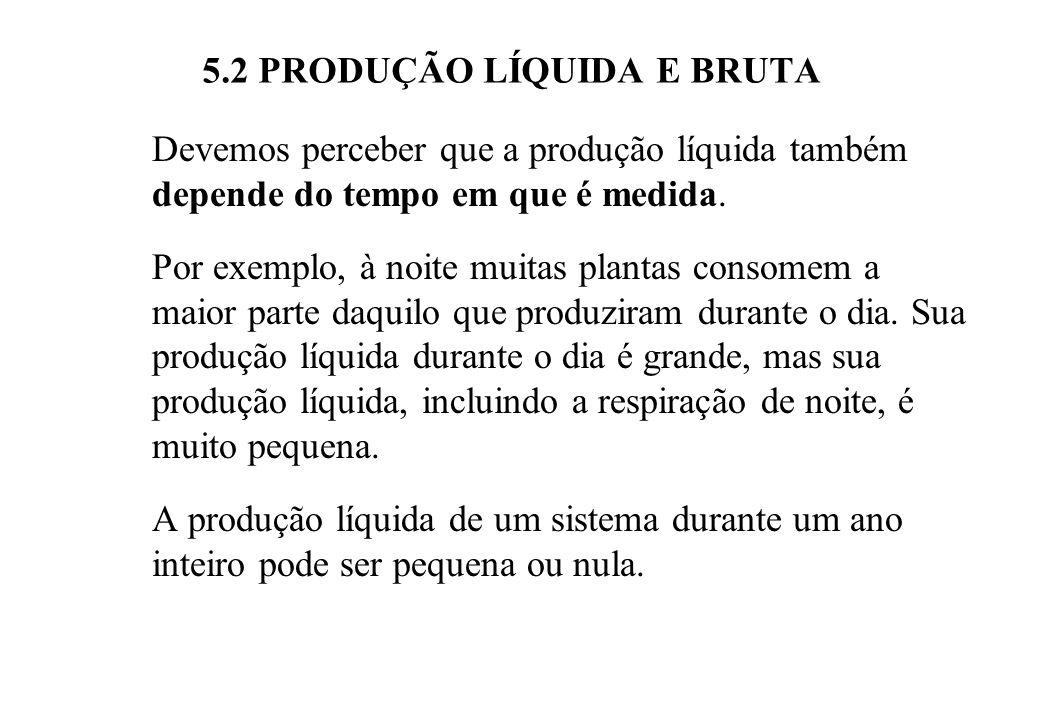 5.2 PRODUÇÃO LÍQUIDA E BRUTA Devemos perceber que a produção líquida também depende do tempo em que é medida.