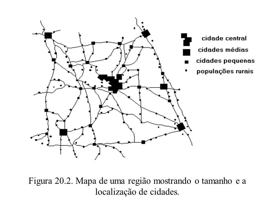 Figura 20.2. Mapa de uma região mostrando o tamanho e a localização de cidades.