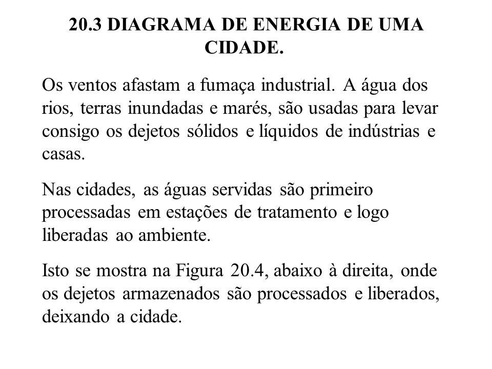 20.3 DIAGRAMA DE ENERGIA DE UMA CIDADE.Os ventos afastam a fumaça industrial.