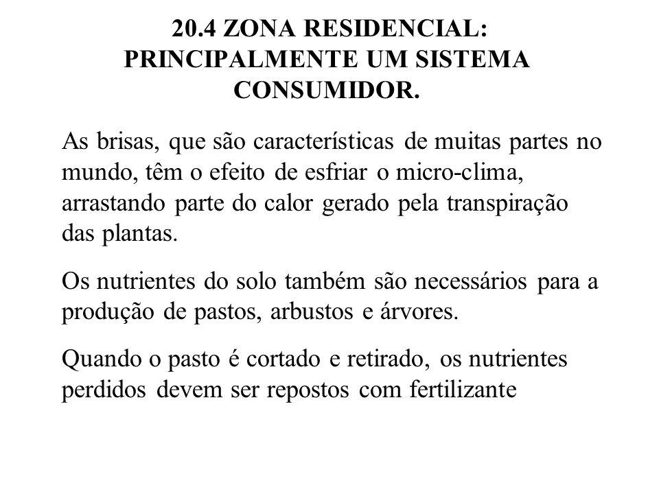 20.4 ZONA RESIDENCIAL: PRINCIPALMENTE UM SISTEMA CONSUMIDOR. As brisas, que são características de muitas partes no mundo, têm o efeito de esfriar o m