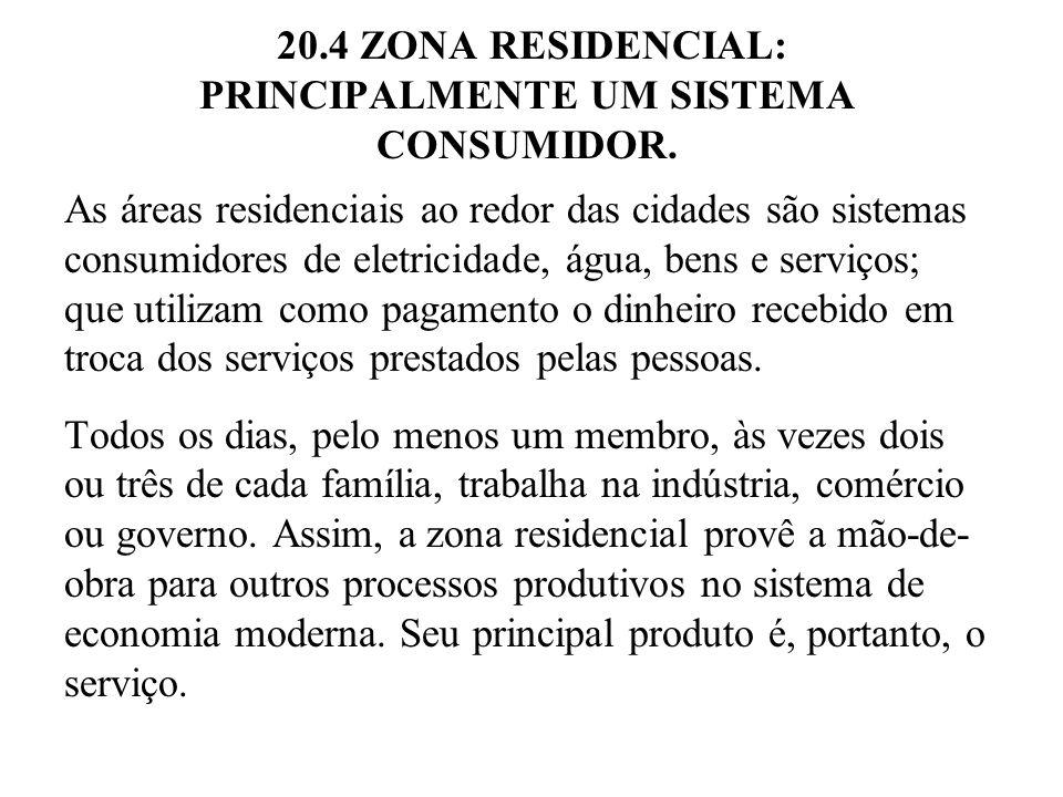 20.4 ZONA RESIDENCIAL: PRINCIPALMENTE UM SISTEMA CONSUMIDOR. As áreas residenciais ao redor das cidades são sistemas consumidores de eletricidade, águ