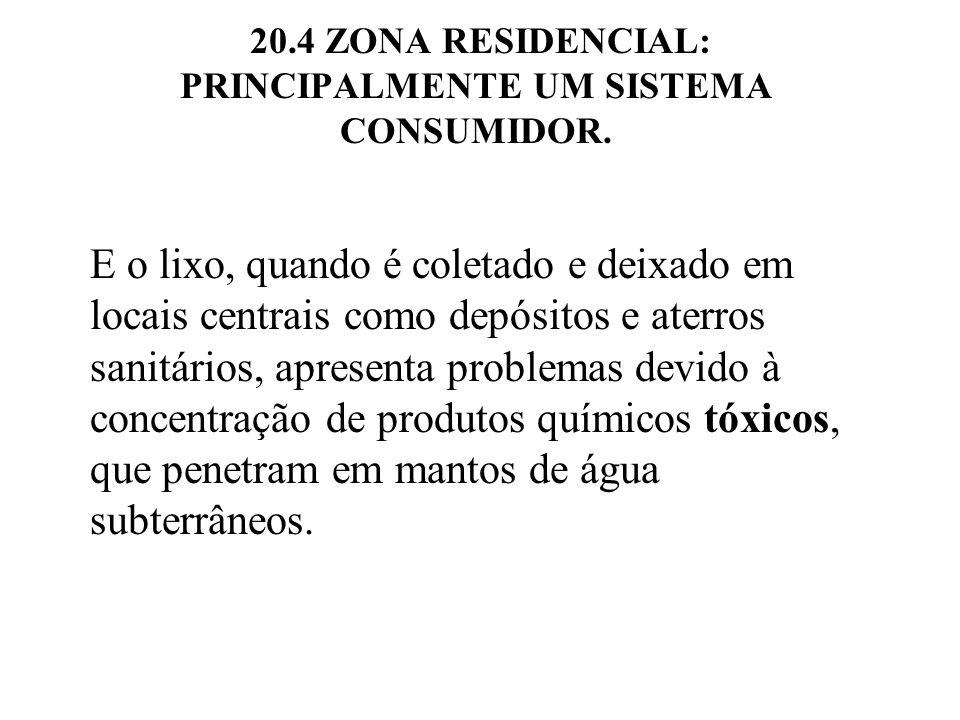 20.4 ZONA RESIDENCIAL: PRINCIPALMENTE UM SISTEMA CONSUMIDOR. E o lixo, quando é coletado e deixado em locais centrais como depósitos e aterros sanitár
