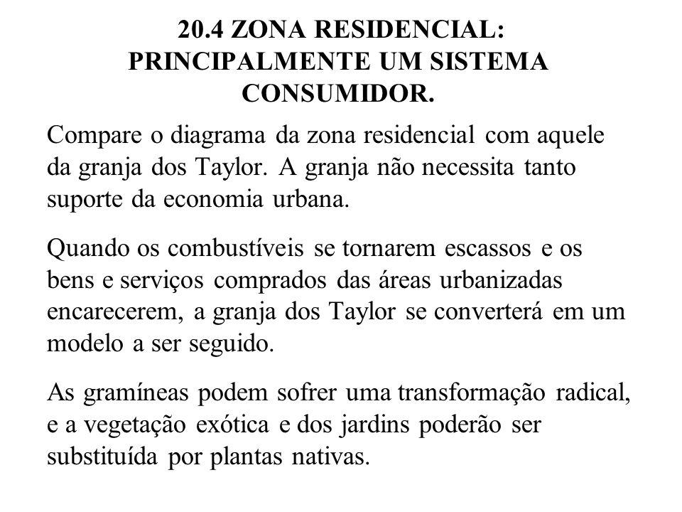 20.4 ZONA RESIDENCIAL: PRINCIPALMENTE UM SISTEMA CONSUMIDOR. Compare o diagrama da zona residencial com aquele da granja dos Taylor. A granja não nece