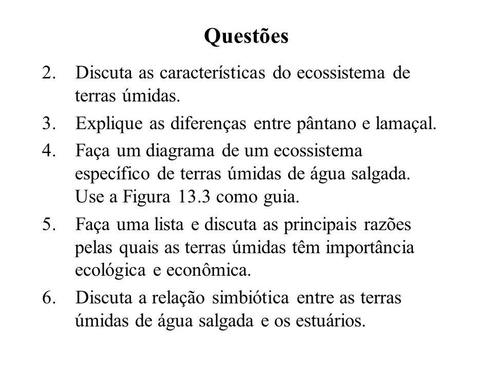 Questões 2.Discuta as características do ecossistema de terras úmidas.