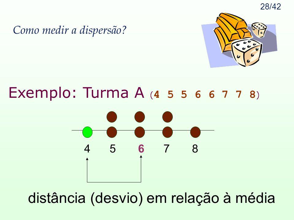 28/42 Como medir a dispersão? Exemplo: Turma A ( 4 5 5 6 6 7 7 8 ) 4 5 6 7 8 distância (desvio) em relação à média