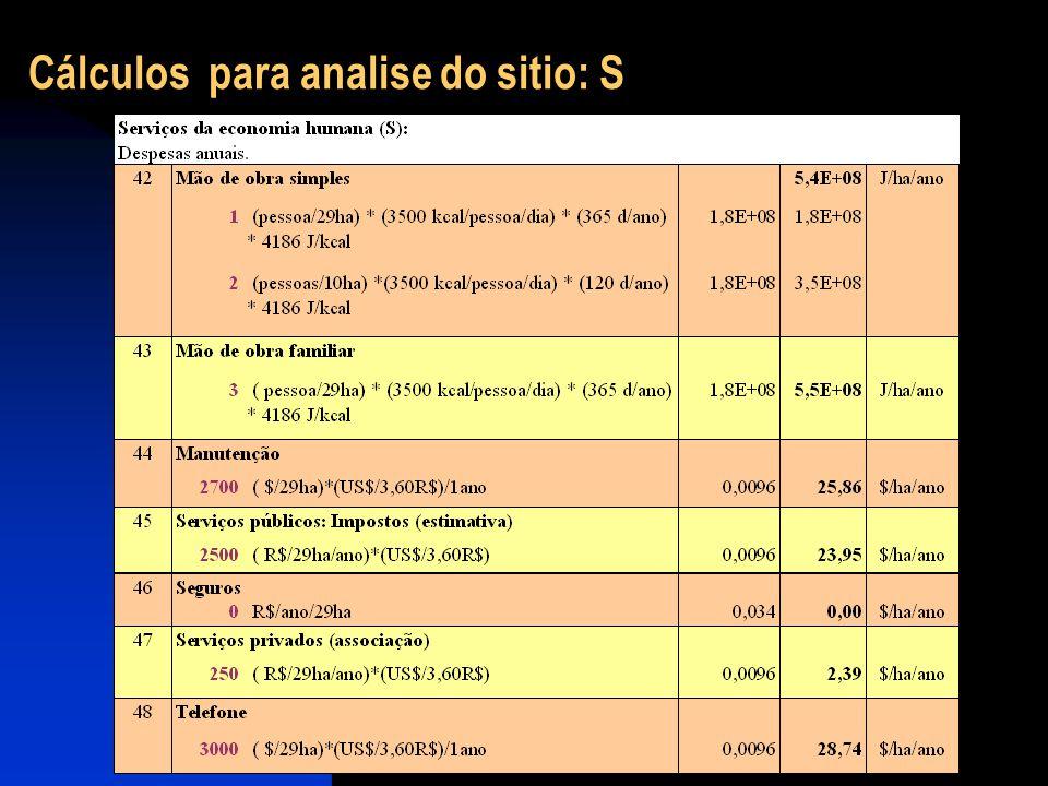 Cálculos para analise do sitio: S