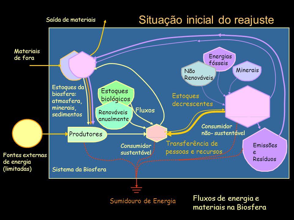 Fontes externas de energia (limitadas) Sumidouro de Energia Sistema da Biosfera Civilização atual Produtores Estoques da biosfera: atmosfera, minerais