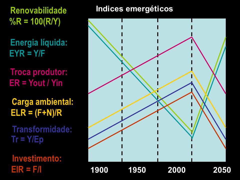 F = M + S R I = R + N Produto Y = I + F E Vendas N M S $ Avalia se o produtor recebe na venda dos produtos, toda a emergia gasta na produção. EER > 1