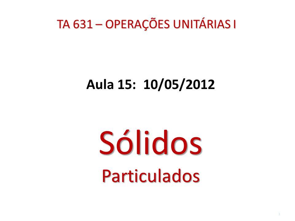 TA 631 – OPERAÇÕES UNITÁRIAS I Aula 15: 10/05/2012 Sólidos Particulados 1
