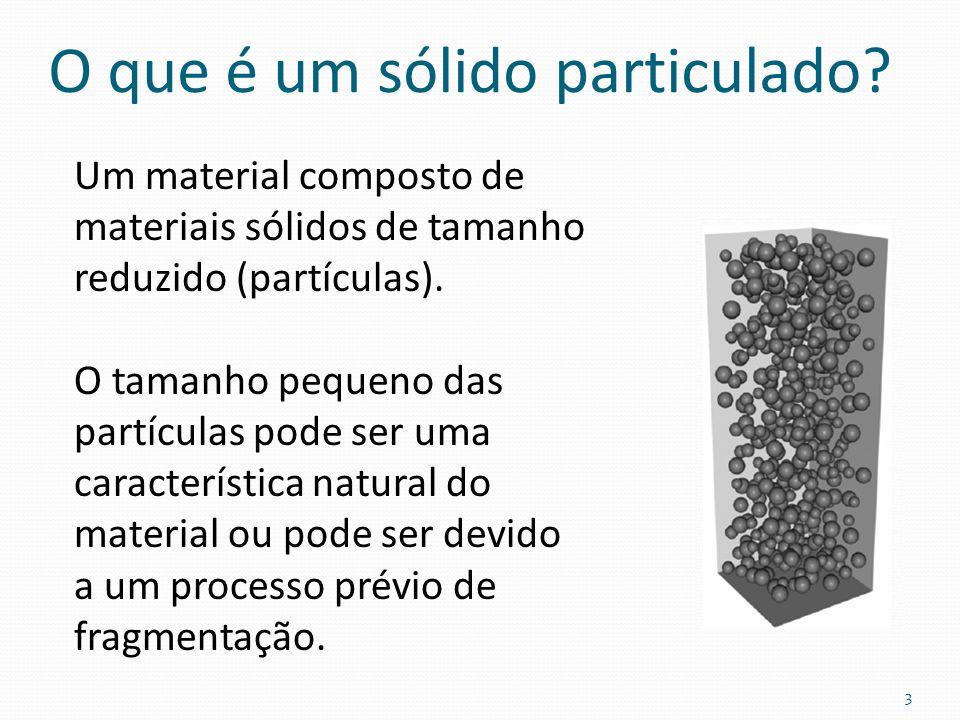 O que é um sólido particulado? Um material composto de materiais sólidos de tamanho reduzido (partículas). O tamanho pequeno das partículas pode ser u