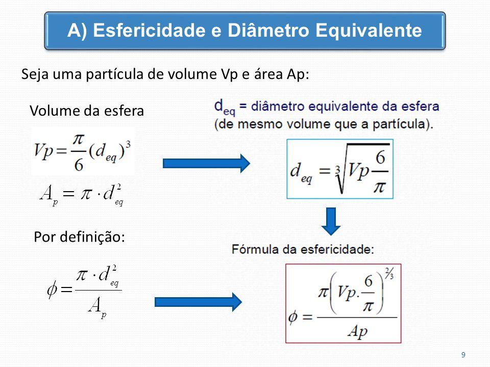 Seja uma partícula de volume Vp e área Ap: Volume da esfera A) Esfericidade e Diâmetro Equivalente 9 Por definição: