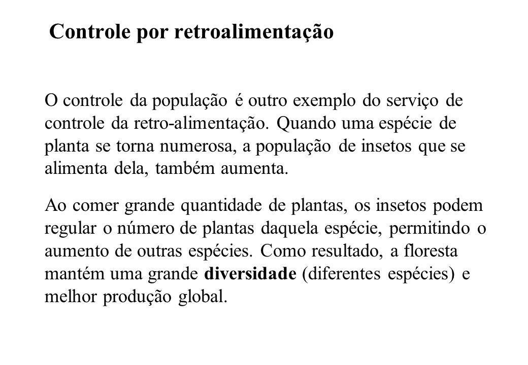 Controle por retroalimentação O controle da população é outro exemplo do serviço de controle da retro-alimentação.