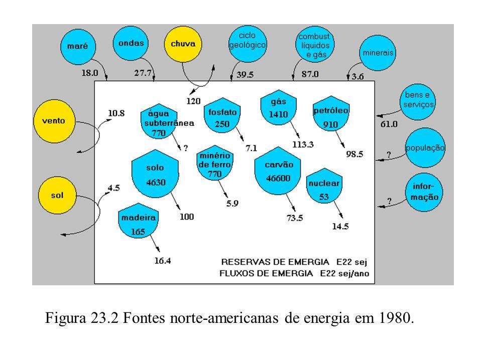 Figura 23.2 Fontes norte-americanas de energia em 1980.