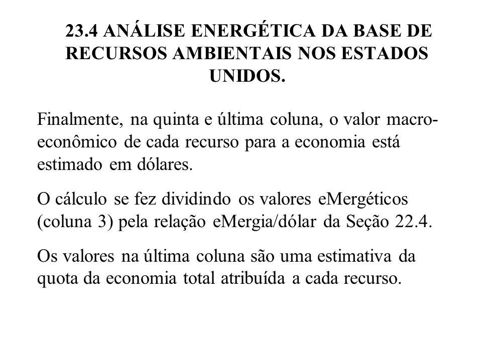 Finalmente, na quinta e última coluna, o valor macro- econômico de cada recurso para a economia está estimado em dólares. O cálculo se fez dividindo o