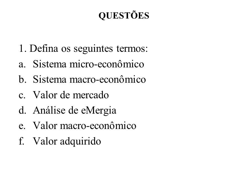 1. Defina os seguintes termos: a.Sistema micro-econômico b.Sistema macro-econômico c.Valor de mercado d.Análise de eMergia e.Valor macro-econômico f.V