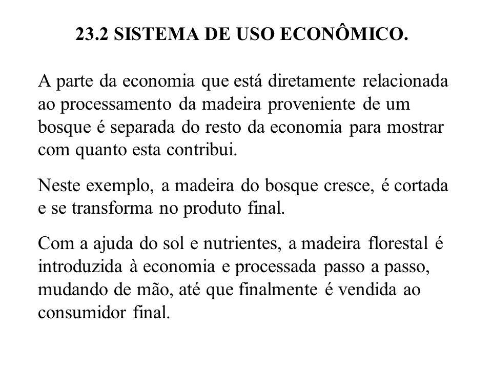 23.2 SISTEMA DE USO ECONÔMICO. A parte da economia que está diretamente relacionada ao processamento da madeira proveniente de um bosque é separada do