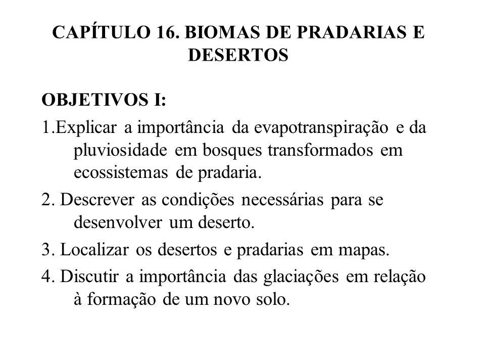 CAPÍTULO 16. BIOMAS DE PRADARIAS E DESERTOS OBJETIVOS I: 1.Explicar a importância da evapotranspiração e da pluviosidade em bosques transformados em e