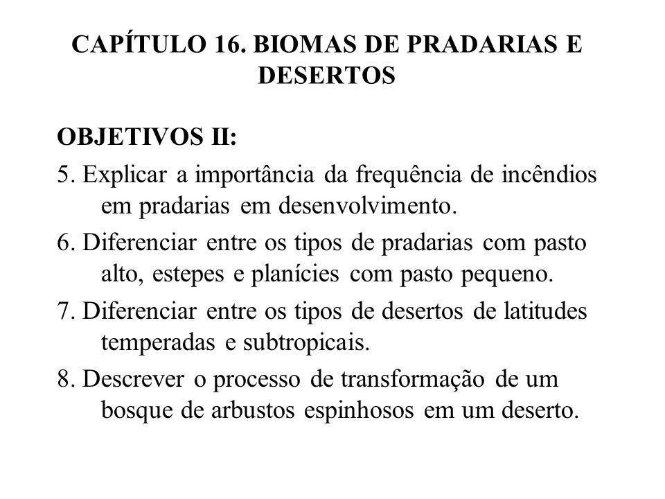 CAPÍTULO 16. BIOMAS DE PRADARIAS E DESERTOS OBJETIVOS II: 5. Explicar a importância da frequência de incêndios em pradarias em desenvolvimento. 6. Dif