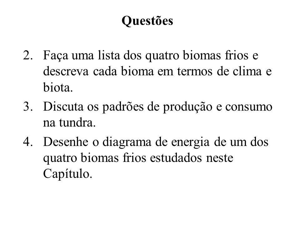 Questões 2. Faça uma lista dos quatro biomas frios e descreva cada bioma em termos de clima e biota. 3. Discuta os padrões de produção e consumo na tu