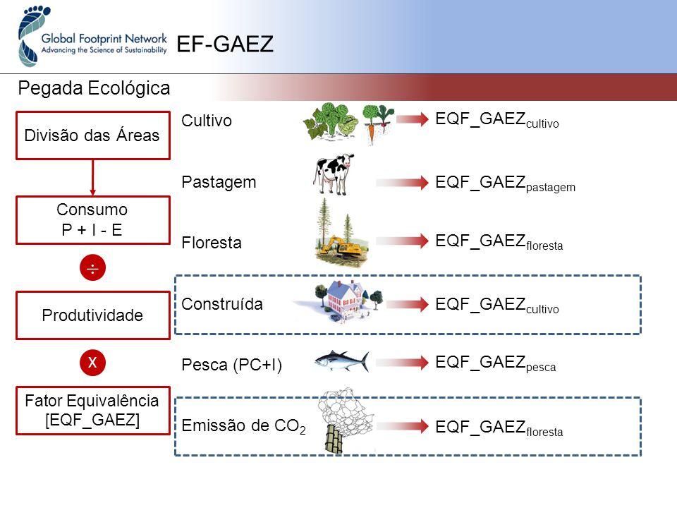 EF-GAEZ Pegada Ecológica Cultivo Pastagem Floresta Construída Pesca (PC+I) Emissão de CO 2 Divisão das Áreas Consumo P + I - E EQF_GAEZ cultivo EQF_GAEZ pastagem EQF_GAEZ floresta EQF_GAEZ cultivo EQF_GAEZ pesca EQF_GAEZ floresta  Produtividade X Fator Equivalência [EQF_GAEZ]