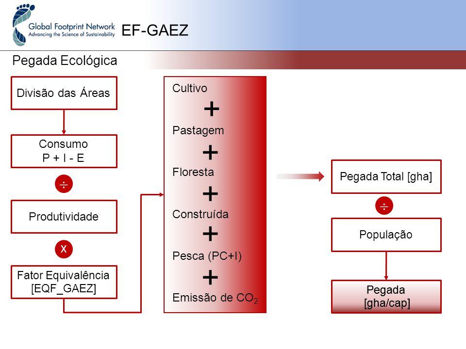 EF-GAEZ Pegada Ecológica Cultivo Pastagem Floresta Construída Pesca (PC+I) Emissão de CO 2 Divisão das Áreas Consumo P + I - E  Produtividade X Fator Equivalência [EQF_GAEZ] + + + + + Pegada Total [gha]  População Pegada [gha/cap] Pegada [gha/cap]