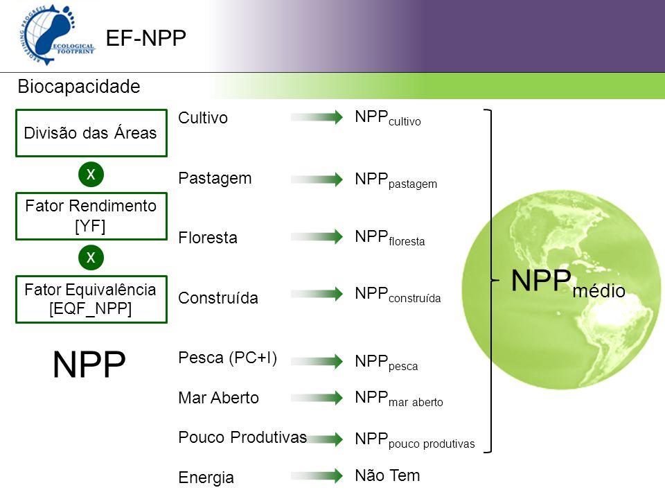 EF-NPP Biocapacidade Divisão das Áreas X Fator Rendimento [YF] X Fator Equivalência [EQF_NPP] Cultivo Pastagem Floresta Construída Pesca (PC+I) Mar Aberto Pouco Produtivas Energia NPP NPP cultivo NPP pastagem NPP floresta NPP construída NPP pesca NPP mar aberto NPP pouco produtivas Não Tem NPP médio