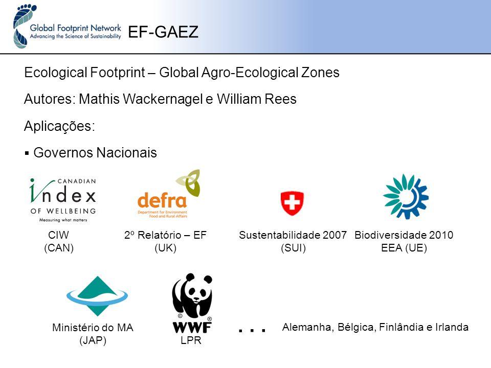 Ecological Footprint – Global Agro-Ecological Zones EF-GAEZ Autores: Mathis Wackernagel e William Rees Aplicações: 2º Relatório – EF (UK) Sustentabilidade 2007 (SUI)  Governos Nacionais CIW (CAN) Biodiversidade 2010 EEA (UE) Ministério do MA (JAP) Alemanha, Bélgica, Finlândia e Irlanda...