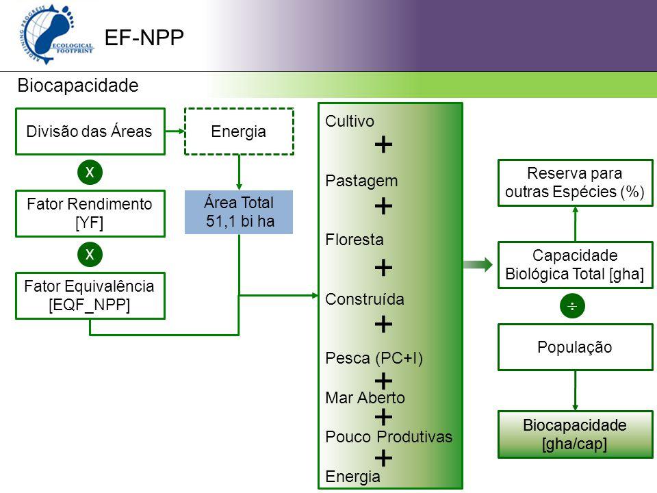 EF-NPP Biocapacidade Divisão das Áreas X Fator Rendimento [YF] X Fator Equivalência [EQF_NPP] Energia Área Total 51,1 bi ha Cultivo Pastagem Floresta Construída Pesca (PC+I) Mar Aberto Pouco Produtivas Energia Capacidade Biológica Total [gha]  População Biocapacidade [gha/cap] + + + + + + + Reserva para outras Espécies (%)
