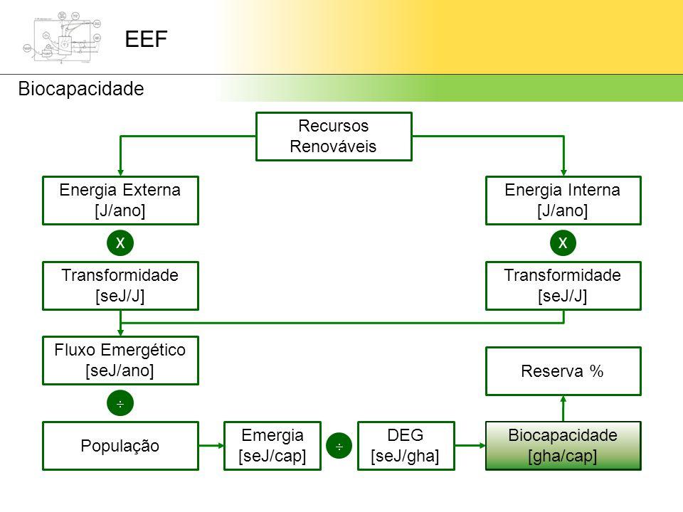 EEF Biocapacidade Recursos Renováveis Energia Externa [J/ano] Energia Interna [J/ano] XX Transformidade [seJ/J] Transformidade [seJ/J] Fluxo Emergético [seJ/ano]  População Emergia [seJ/cap]  DEG [seJ/gha] Biocapacidade [gha/cap] Reserva % Biocapacidade [gha/cap]