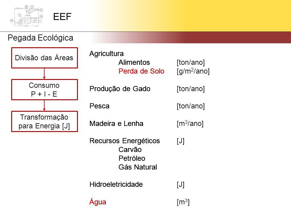 Divisão das Áreas Agricultura Alimentos Perda de Solo Produção de Gado Pesca Madeira e Lenha Recursos Energéticos Carvão Petróleo Gás Natural Hidroeletricidade Água Consumo P + I - E Transformação para Energia [J] Agricultura Alimentos[ton/ano] Perda de Solo[g/m 2 /ano] Produção de Gado[ton/ano] Pesca[ton/ano] Madeira e Lenha[m 3 /ano] Recursos Energéticos[J] Carvão Petróleo Gás Natural Hidroeletricidade[J] Água[m 3 ] Agricultura Alimentos Perda de Solo Produção de Gado Pesca Madeira e Lenha Recursos Energéticos Carvão Petróleo Gás Natural Hidroeletricidade Água EEF Pegada Ecológica