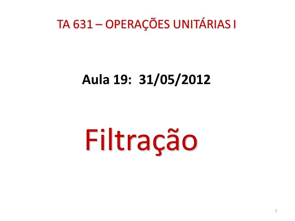 TA 631 – OPERAÇÕES UNITÁRIAS I Aula 19: 31/05/2012 Filtração 1
