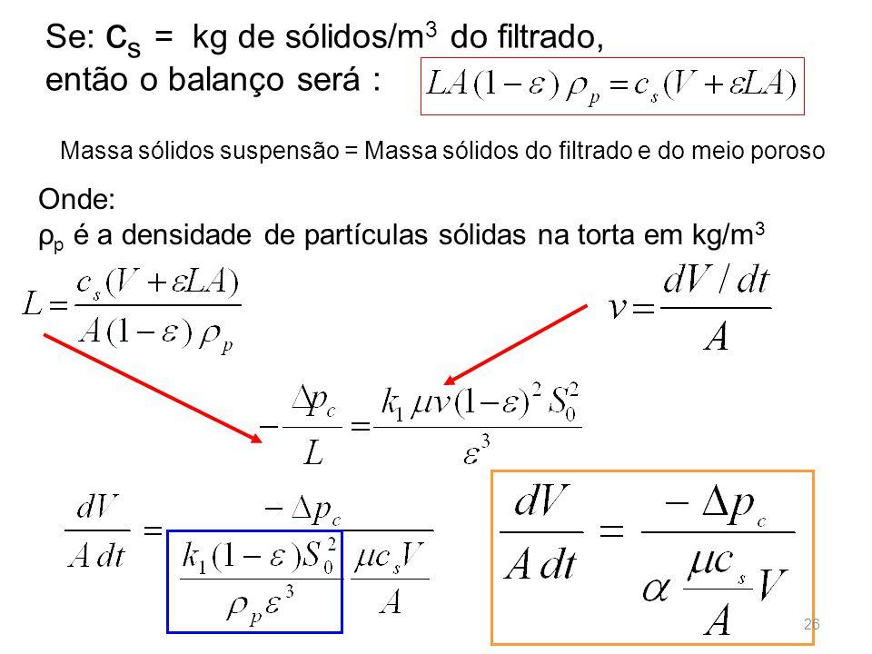 Onde: ρ p é a densidade de partículas sólidas na torta em kg/m 3 Se: c s = kg de sólidos/m 3 do filtrado, então o balanço será : 26 Massa sólidos suspensão = Massa sólidos do filtrado e do meio poroso