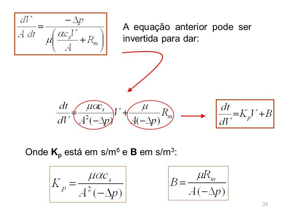 A equação anterior pode ser invertida para dar: Onde K p está em s/m 6 e B em s/m 3 : 29
