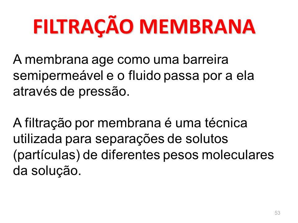 FILTRAÇÃO MEMBRANA A membrana age como uma barreira semipermeável e o fluido passa por a ela através de pressão.