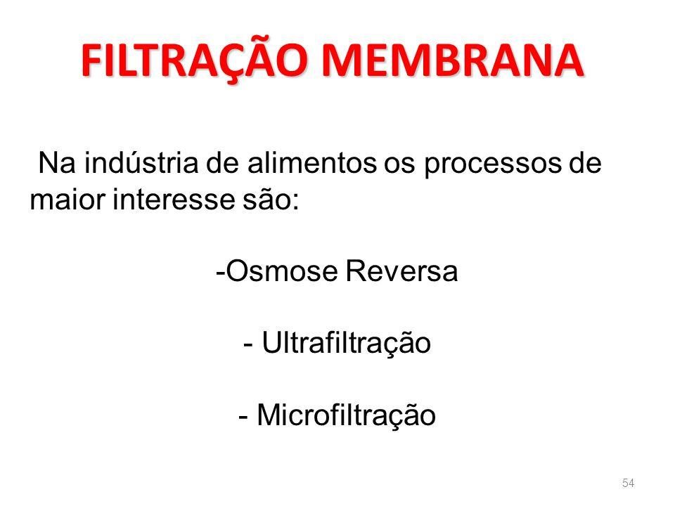 FILTRAÇÃO MEMBRANA Na indústria de alimentos os processos de maior interesse são: -Osmose Reversa - Ultrafiltração - Microfiltração 54