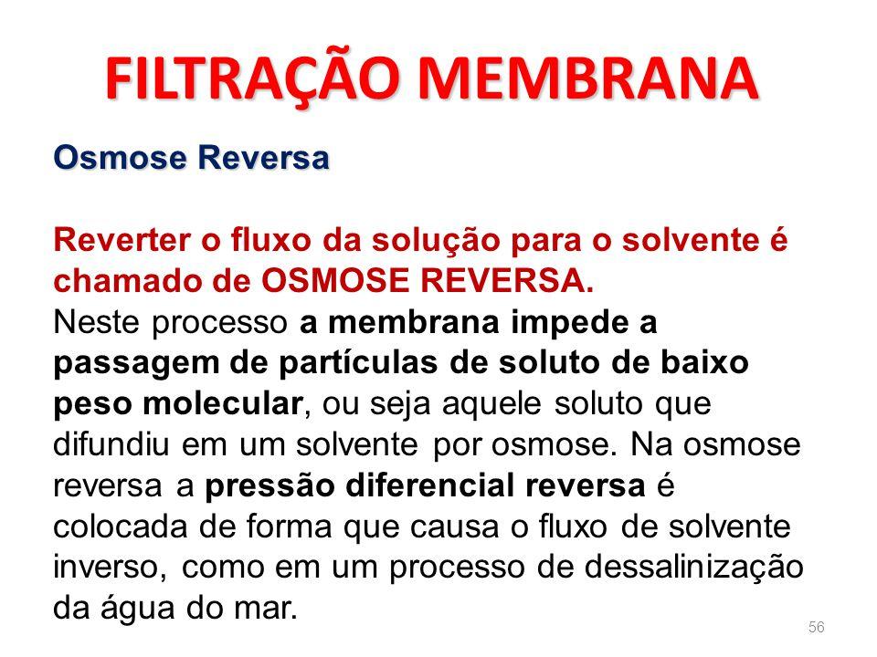 FILTRAÇÃO MEMBRANA Osmose Reversa Reverter o fluxo da solução para o solvente é chamado de OSMOSE REVERSA.