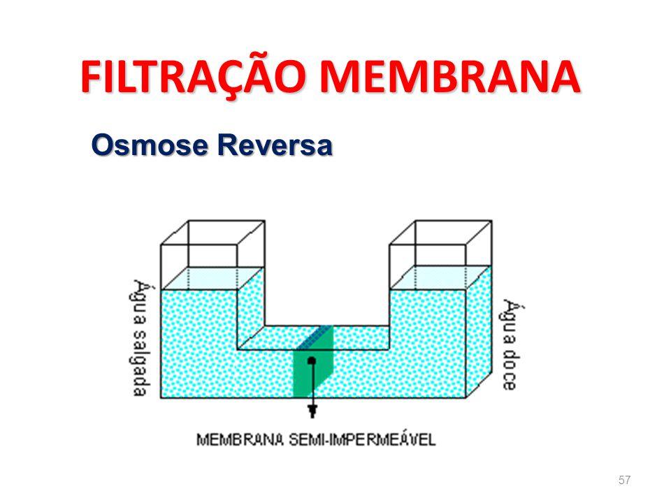 FILTRAÇÃO MEMBRANA Osmose Reversa 57