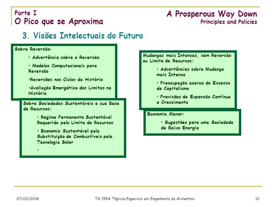 27/03/2006 TA 159A Tópicos Especiais em Engenharia de Alimentos 10 A Prosperous Way Down Principles and Policies 3.
