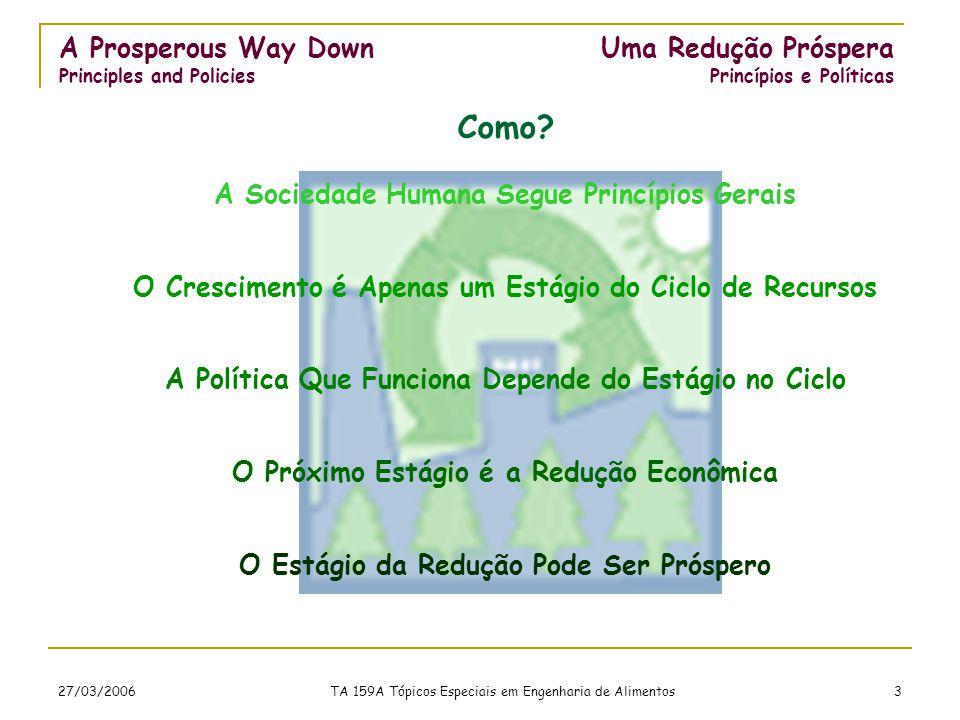 27/03/2006 TA 159A Tópicos Especiais em Engenharia de Alimentos 3 A Sociedade Humana Segue Princípios Gerais O Crescimento é Apenas um Estágio do Ciclo de Recursos A Política Que Funciona Depende do Estágio no Ciclo O Próximo Estágio é a Redução Econômica O Estágio da Redução Pode Ser Próspero A Prosperous Way Down Principles and Policies Como.