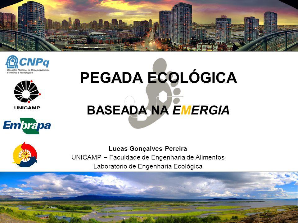 PEGADA ECOLÓGICA BASEADA NA EMERGIA Lucas Gonçalves Pereira UNICAMP – Faculdade de Engenharia de Alimentos Laboratório de Engenharia Ecológica