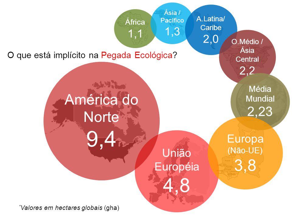 África 1,1 Ásia / Pacífico 1,3 A.Latina/ Caribe 2,0 O.Médio / Ásia Central 2,2 O que está implícito na Pegada Ecológica? União Européia 4,8 América do